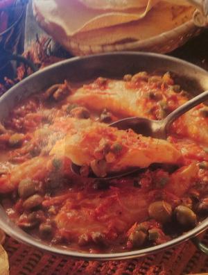 kabeljauw met paprika- tomaten saus