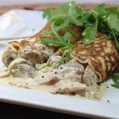 pannenkoeken met champignon en kip vulling