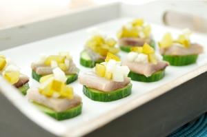komkommer snack met haring