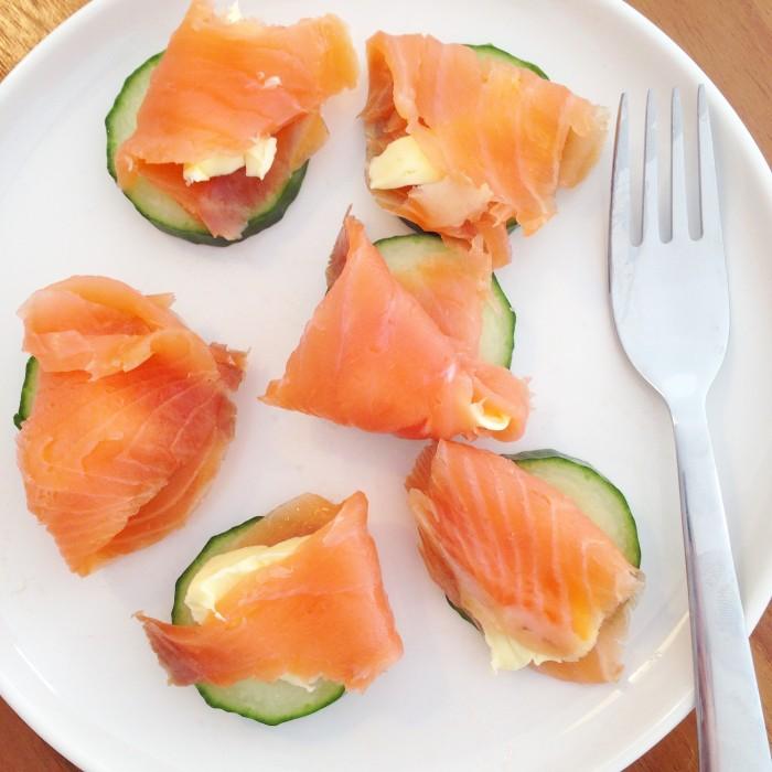 komkommer snack met zalm