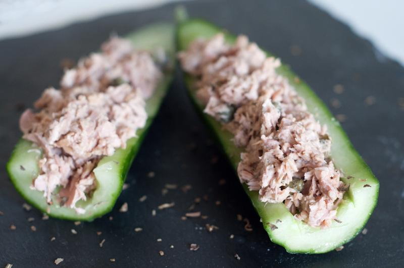komkommer snack met tonijnsalade